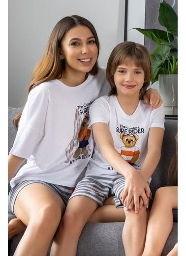 Katia & Bony Surf Yapan Ayı Baskılı Erkek Çocuk şortlu Pijama Takımı - Beyaz Beyaz